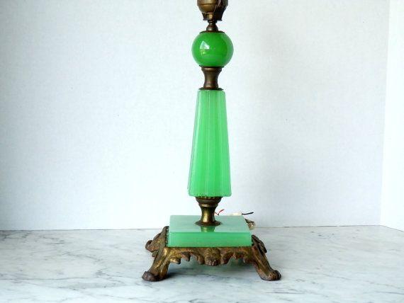 Jadeite Glass Table Lamp Base Art Deco Vintage
