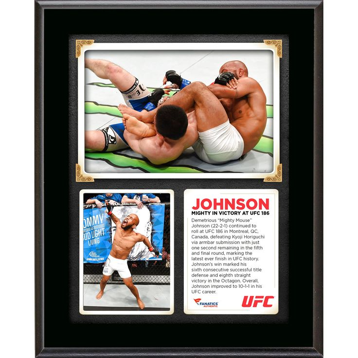 Demetrious Johnson Ultimate Fighting Championship Fanatics Authentic 10.5'' x 13'' UFC 186 Victory Over Kyoji Horiguchi Sublimated Plaque - $23.99