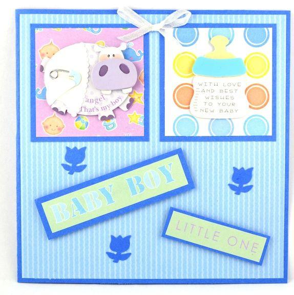 Kort til babygutt, med flodhest og tåteflaske Handmade card , for Baby boy