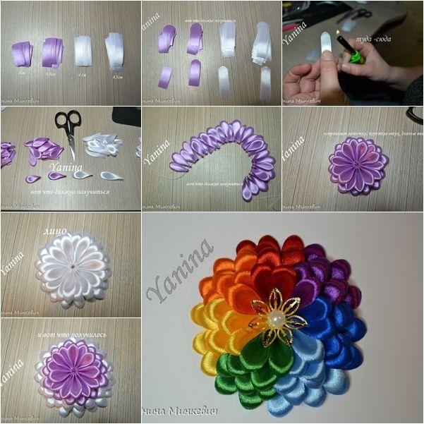 How to Make Colorful Ribbon Dahlia