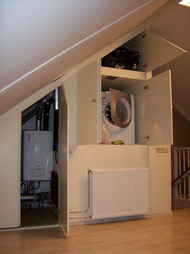 wasmachine en ketel mooi weggewerkt op zolder