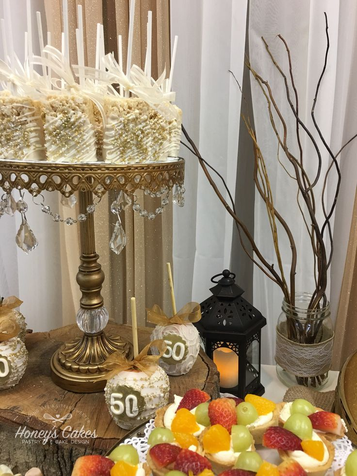 Rustic th golden anniversary dessert table by honey s