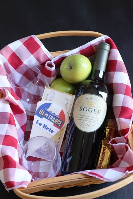 An Easy Wine & Cheese Gift Basket napkins, basket, cheese, wine, apple a group of my favorites.