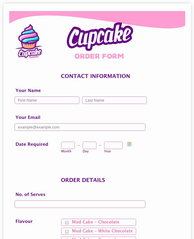 Cake Order Form Template Word Fresh Cake Order Form Template 13 Free Samples Examples Cake Order Form Cake Order Form Template Bakery Order Form Template