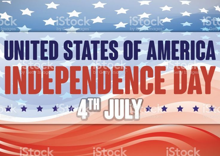 American Flag with Abstract Waves and Stars for Independence Day