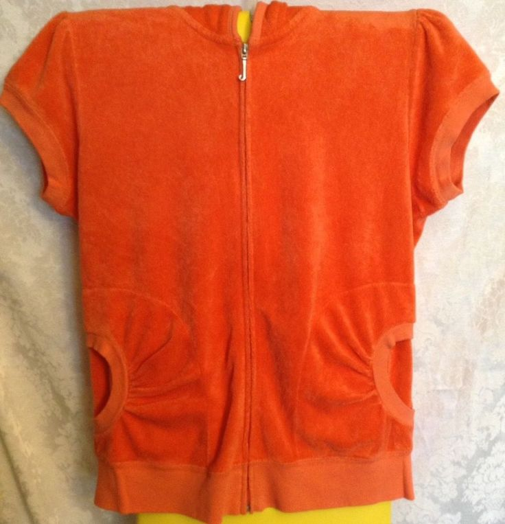 JUICY COUTURE Juniors Orange Cap Sleeve Velour Hoodie Zip Up Sweatshirt Size XL  | eBay