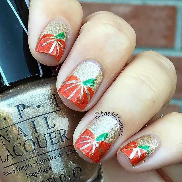 Pumpkins nail art! @opi_products Love.Angel.Music.Baby serves the base for these nails! Orange is @picturepolish Autumn.