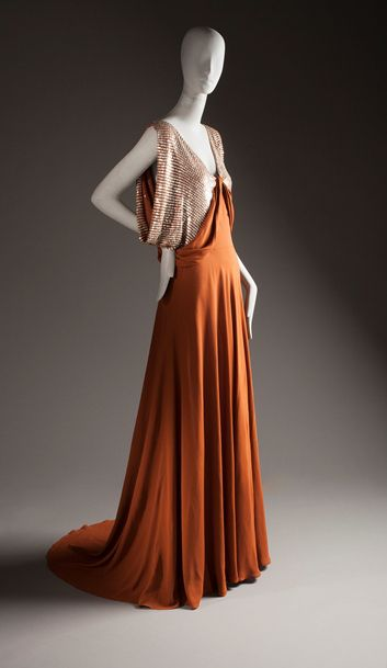 Jeanne Lanvin, Woman's Evening Dress, c. 1935. More fun with draping and bias-cut fabrics
