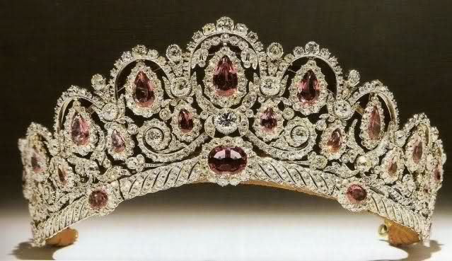 Tiara of the Bagraton. A memorable combination of pinkish spinels and diamonds this tiara  once belonged to a Russian princess, Catherine Bagration. It was purchased by the current Duke of Westminster for his bride, and she wore it at their 1978 wedding.