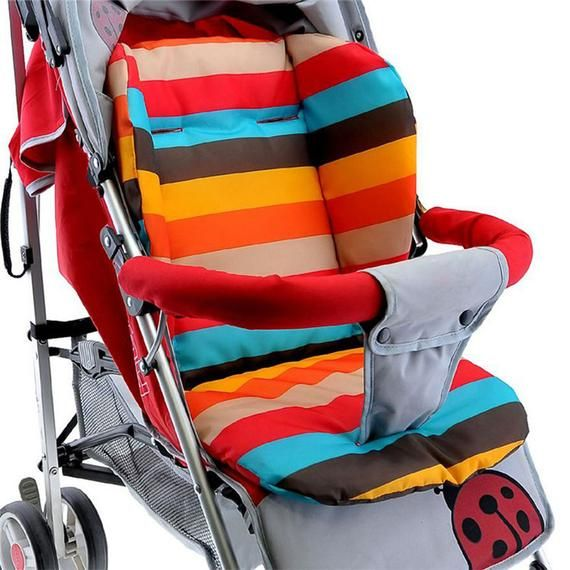 Baby Infant Stroller Seat Pushchair Cushion Cotton Mat Rainbow Color Soft Thick Pram Cushion Chair BB Car Seat Cushion