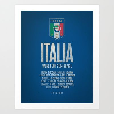 Italia World Cup 2014 Celebrative Artwork Art Print by The Soccer Supply