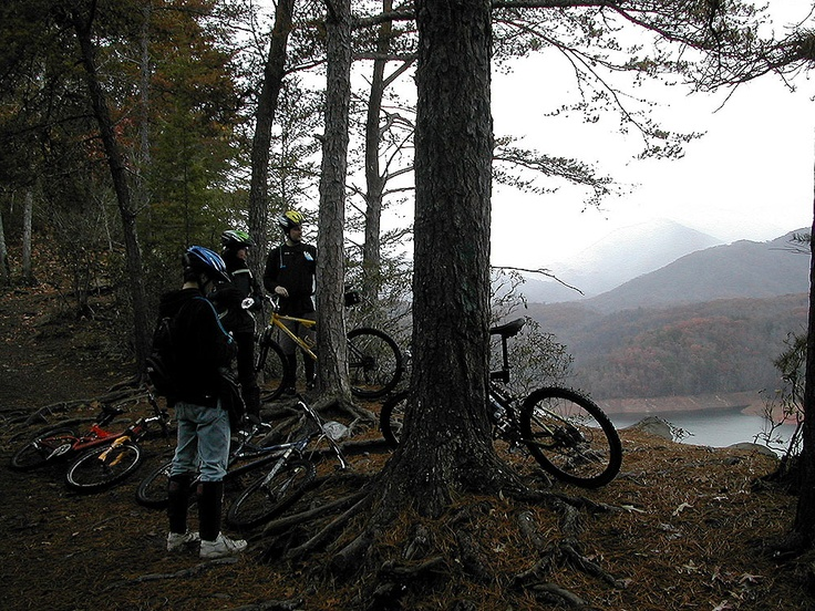 At Tsali in 2001 riding with the Core-4, our small biking gang of 4.  Stopping for a nice view.