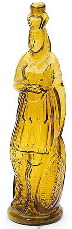Brown's Celebrated Indian Herb Bitters, Indian Maiden, Yellow, 12 inch A yellow biBrown's  Celebrated  Indian Herb Bittersib figural bottle, 1867 to 1880