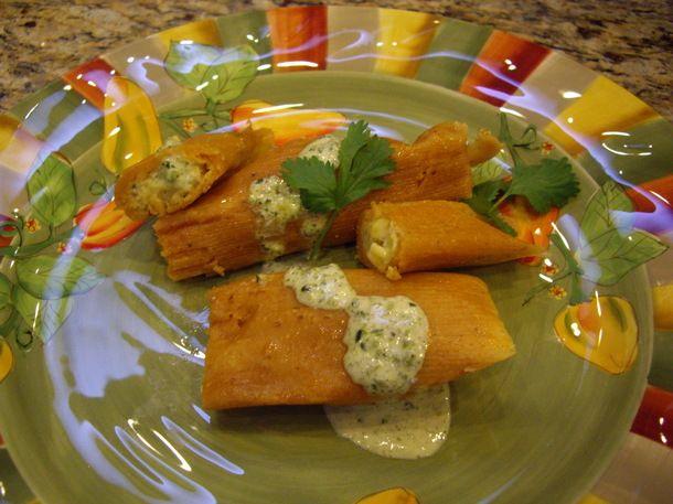 Easy Cheese and Corn Tamales with Poblano Cream | Hispanic Kitchen