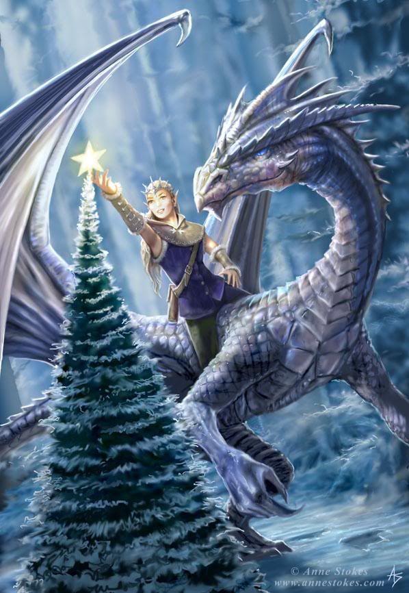 Yule dragon and rider