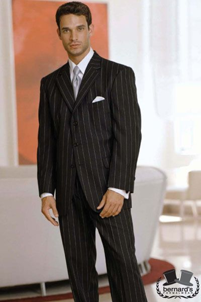 -the Newport 3 button chalkstripe #suit  www.bernardsformalwear.com