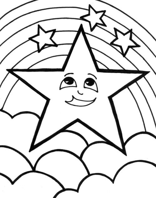Coloring Pages Of Stars Clouds Rainbow With Clouds Coloring Page ...