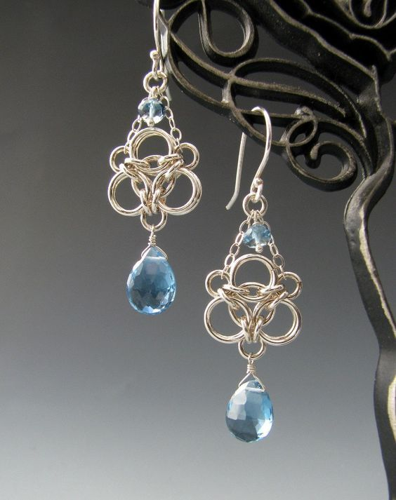 """variation on the Aura Weave, out of 20 gauge sterling silver jump rings. Delicate sterling silver chains.   These earrings measure 1 3/4"""" (45mm) long, from the top of the sterling silver ear wire to the bottom of the topaz drop, and are about 1/2"""" (13mm) at their widest point. On sale at Etsy"""