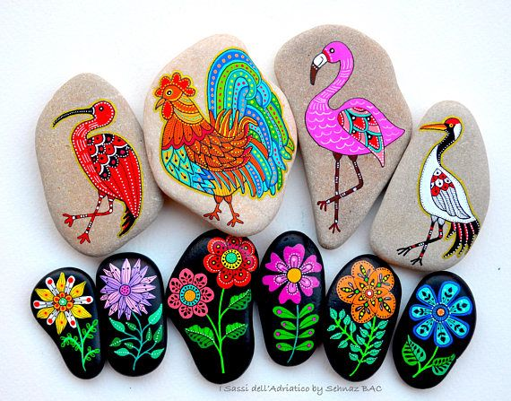 Hand Painted Stone Red-crowned crane/ Beach stone with hand-painted designs in acrylics © Sehnaz Bac 2017 I paint and draw all of my original designs by free hand with high quality acrylic paints, small brushes or paint pens with extra fine tip. I use also different inks. No