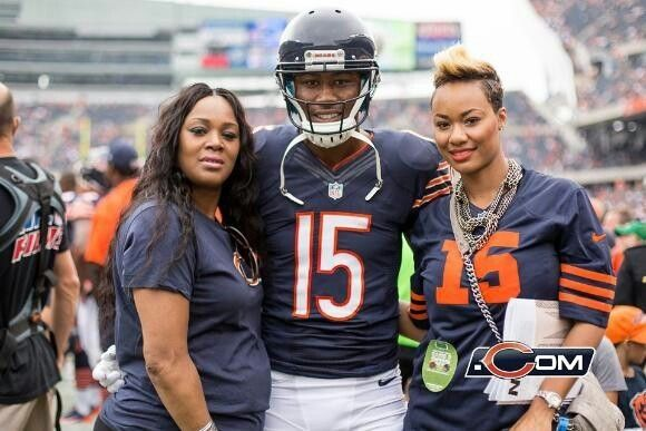 Brandon Marshall with his mother & wife.
