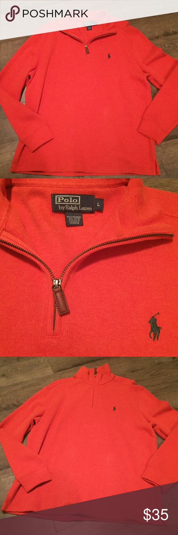 Polo Ralph Lauren Men's Half-Zip Sweater Bright orange sweater/green logo Polo by Ralph Lauren Sweaters Zip Up