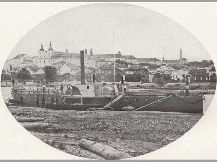 parník Praha v přístavu na Smíchově, 1865