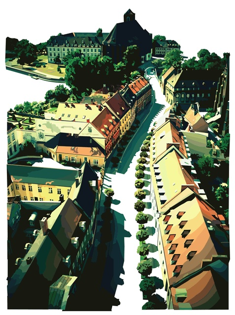 view from wroclaw cathedral. poland. vector drawing.