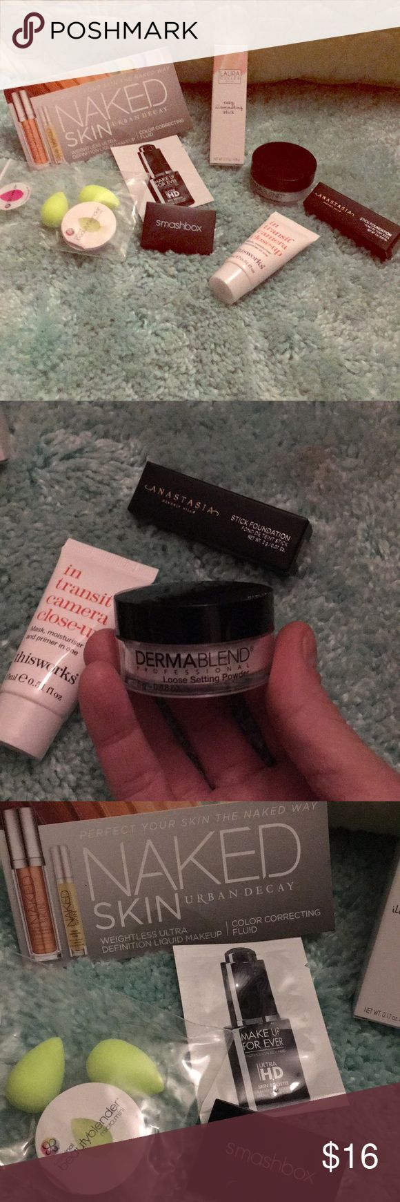 NWT High End Travel Size, Sample Size, Full Size Includes: • Laura Geller Easy Illuminating Stick FULL SIZE in Ethereal  •Beauty Blender Micro Mini's Set of 2 • Smashbox Eyeshadow Duo in Covershot Golden Hour Psyched and Turned On • thisworks - - in transit camera close-up (0.5 oz) • Dermablend Loose Setting Powder (0.18 oz) • Anastasia Beverly Hills Stick Foundation in Fawn • Urban Decay Naked Skin Color Correcting Fluid Samples • Makeup Forever Ultra HD Skin Booster Sample Sephora Makeup