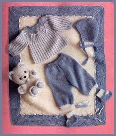 MODÈLES POUR BÉBÉS Ensemble bébé (tailles 1 - 3 mois) + couverture (60 x 75 cm environ)