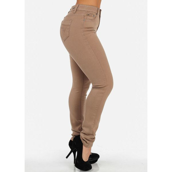 High Waist Khaki Skinny Jeans With Zigzag Stitch ($30) ❤ liked on Polyvore featuring jeans, bottoms, skinny leg jeans, high rise jeans, highwaist jeans, high-waisted jeans and cut skinny jeans