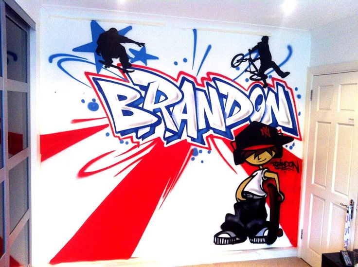 Vintage children teen Kids Bedroom Graffiti mural hand painted Brandon Skateboard graffiti bedroom design