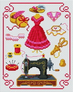 Cross-stitch pattern on sewing