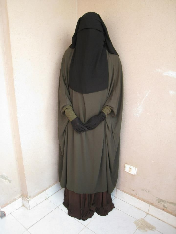 Olive Green Abaya with Niqab and Gloves