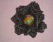 Brown felt flower brooch with chintz silk