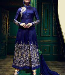 Buy Blue Color Designer Resham Embroidery Saree party-wear-salwar-kameez online