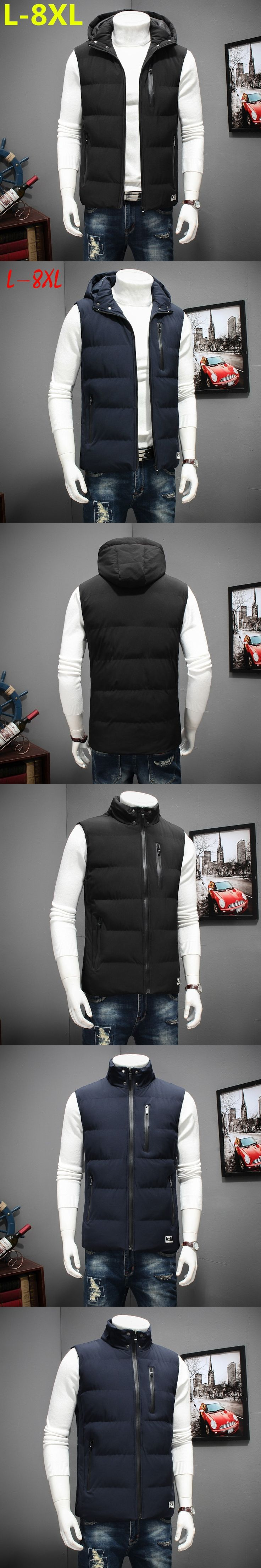 Plus la taille 8XL 7XL 2017 nouvelle Hommes de coton de hiver Hommes mode gilet grands chantiers occasionnels chaud de vestes