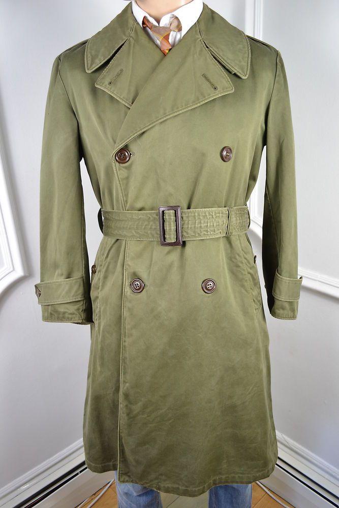 VINTAGE 1940's US MILITARY WW2 TRENCH COAT COTTON RAINCOAT ...