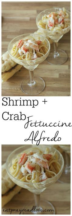 This recipe for crab and shrimp fettucine alfredo is the perfect summer dinner at the beach! Perfectly cooked pasta, a sauce made with rich cream and Parmesan cheese, fresh seafood- it's perfect!