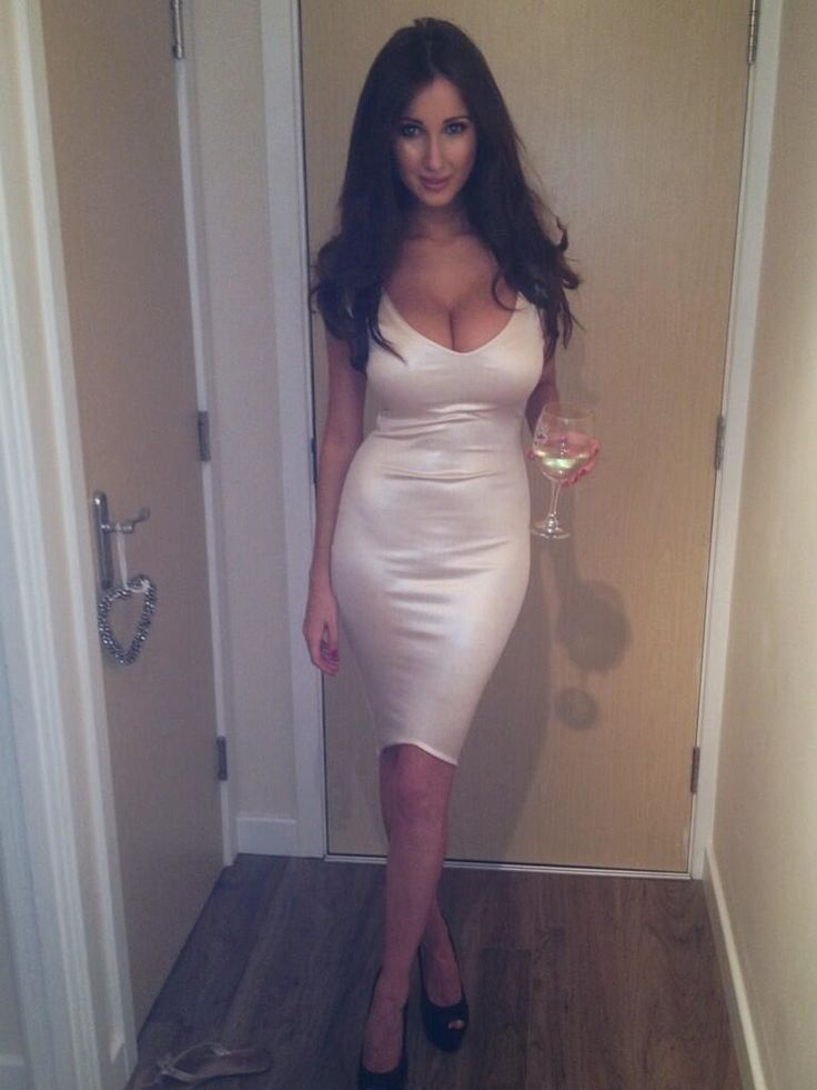 Hot MILF in tight white dress, deep cleavage and black