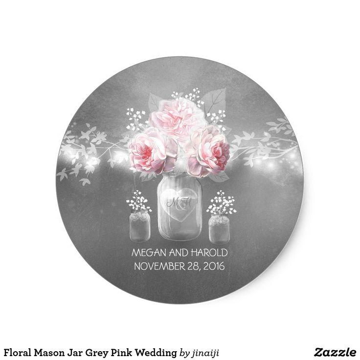 Floral Mason Jar Grey Pink Wedding Classic Round Sticker Mason jar, pink roses, baby's breath and string lights rustic wedding stickers