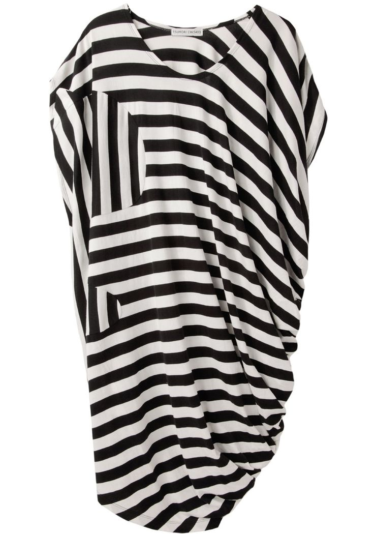 Love how the stripes are placed - Tsumori Chisato / Asymmetric Striped black and white Dress | La Garçonne