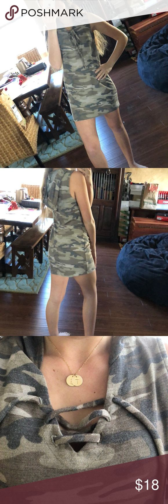 Camo tank top dress. Tank top dress camo. Laces up in the front and ties. Has a hood. Super comfortable and never worn. No damage Dresses Mini