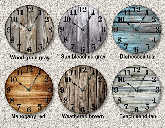 OLD WEATHERED BOARDS pattern wall clock unique by FancyThisBaby