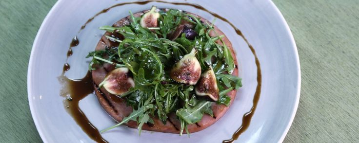 Grilled Ham Steak with Figs & Arugula