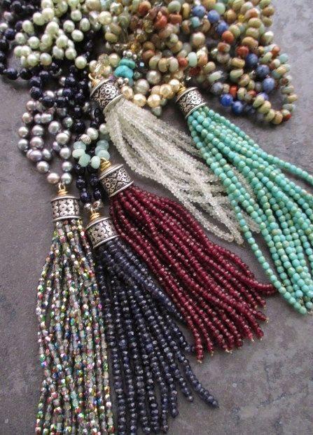 Luxe iolite gemstone tassel necklace Indigo Sway by slashKnots
