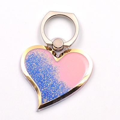 Glitter Dynamic Liquid Quicksand Love Phone Pop Finger Ring Stand For iPhone Samsung Mobile Smartphone Car Holder