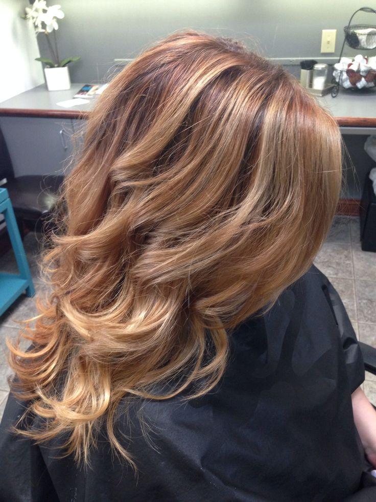 Balayaged Carmel highlights on a warm base. Platinum Salon by Christina, Sycamore, IL #longhair #balayage #highlights