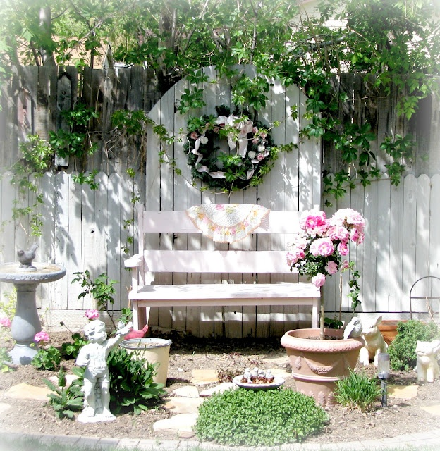Romantic white garden corner....