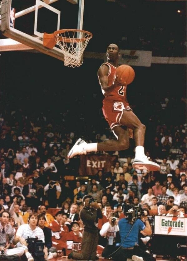 Michael Jordan wearing his iconic Cement Air Jordan III on his way to a  second Slam Dunk Champion title in