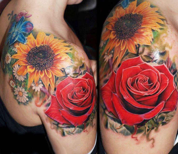 Realistic Flowers Tattoo by Jurgis Mikalauskas Tattoo | Tattoo No. 13436